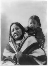 """Photo 1899 Sioux Indian """"Eagle Feather"""" and Baby"""