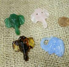 4   Vintage Czech  Glass   ELEPHANTS    figural   Jewelry pieces CABOCHONS