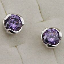 Hot Nice Amethyst Purple Round Cut Jewelry Gold Filled Stud Lady Earrings H2012