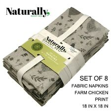 New SET OF 8 Naturally Danny Seo Napkins Gray Taupe Chickens Rooster Print 18x18