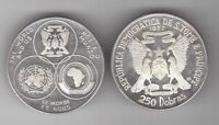 ST THOMAS & PRINCE - SILVER 250 DOBRAS COIN 1977 YEAR KM#34 MAP UN