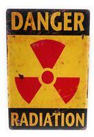 Danger Radiation Metal Tin Sign, Warning Sign, Radiation Warning Sign