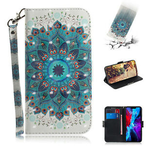 Luxury Fashion Peacock Wreath 3D Painted Hot Wallet Case For Various Phone Cover