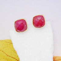 Indischer Rubin rosarot gold Design Ohrringe Ohrstecker Stecker vergoldet neu