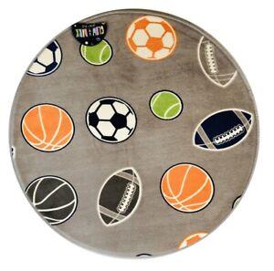 Glow in the Dark Rug Grey Football Sports Kids Bedroom Round Mat 70 x 70cm