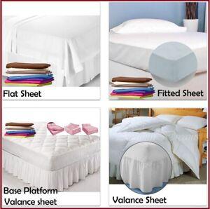 Plain Dyed Fitted Valance Divan Base Platform Sheets 100% Cotton All Color Sizes