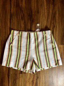 New JCrew Stretch Sailor Shorts Stripes Women's Size 6 NWT