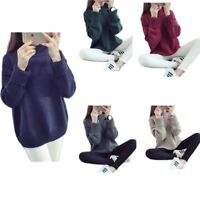 Womens Casual Loose Long Sleeve Tops Sweater Fashion Girls Knitwear Pullover