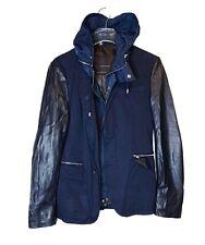 Zara Men Faux Leather Sleeves Combined Jacket Blazer Detachable Hooded Size 38