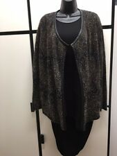 Eileen Fisher L MOHAIR BLEND Leather Trim Black Open Front CARDIGAN JACKET