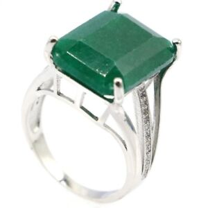 Big Rectangle Gemstone Real Green Emerald CZ Woman's Gift Silver Ring 8.5