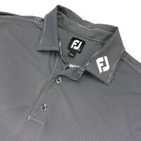FootJoy Men's FJ Tour Logo Collar Golf Polo Shirt Black/White Striped • LARGE