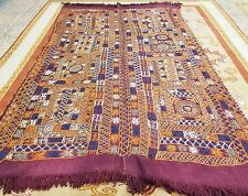 Beautiful Henna Dyed Antique 1930-1940s Embroidered Cicim Kilim 5x7ft