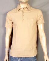 vtg 60s 70s Sears Kings Road NWOT Minty Solid Tan Big Collar Polo Shirt Mod sz M