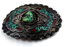 Rare Navajo John Nelson Museum Quality Peyote Bird Buckle Set Stone Chip Inlay