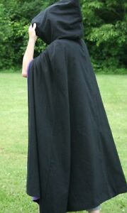 Halloween Costume Medieval Cloak Black Hooded Cape Fancy Dress