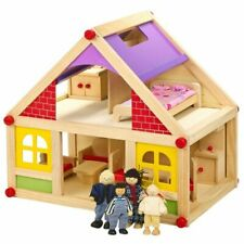 Wooden Doll House With Furniture & Figures 4 Dolls Included Children Easy Set-up