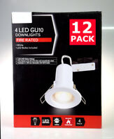 12x WHITE Fire Rated Fixed LED GU10 Recessed Ceiling Spotlights Downlights 4W UK