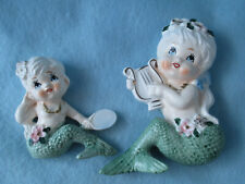2 Vintage ceramic Mermaid figurines wall plaques
