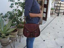 Women New Handmade Natural Tan Pure Goat Leather Vintage Messenger Bag