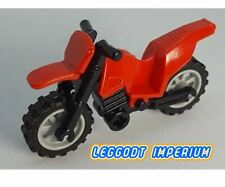 LEGO Motorcycle - Red with grey wheels - full assembly dirt bike FREE POST