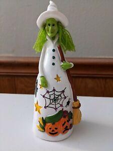 Halloween Witch Figurine Wooden Dressed in all White Halloween Decor