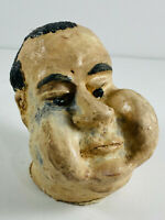 Vintage Folk Art Grotesque Richard Nixon? Cermaic Head face Sculpture