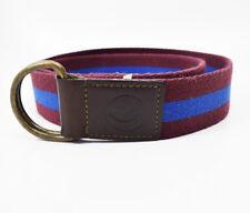 El ganso Tela Y Cinturón De Cuero Marrón Con Rayas Azul Marino Talla 30