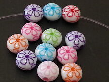 50 Flower print 10mm acrylic plastic loose beads FREE SHIPPING