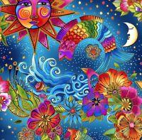 Fabric Celestial Magic Blue LAUREL BURCH CLOTHWORKS Cotton 1/4 yard Y3160-56M