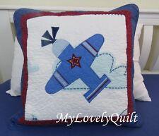 Blue White Airplane Appliqué Patchwork Decorative Cushion Cover 50x50cm Boy Kid