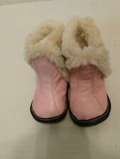Baby JACK & LILY Estel MY MOC BOOTS BOOTIES Pink Leather Fur Lined &Trim 12-18Mo