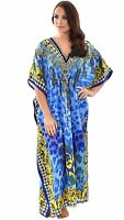 One Size Plus Long Kaftan Tunic Holiday Beach Boho Dress Cover Up Gown Blue