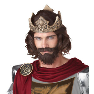 Medieval King Wig With Beard And Mustache Arthur Renaissance Brown Adult Costume