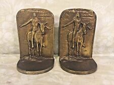 Vtg Pair of Bronze Bookends Indian on Horse by Bron /ME