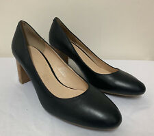 Footglove Black Ladies Leather Block Heel Court Shoes Size Uk 6/39