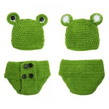 Newborn Baby Girls Crochet Knit Costume Frog Prince Photography Prop Outfits LI