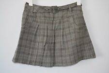 MAX New Zealand A Line Circle Skirt Size 8 small grey check lined wool belt