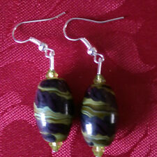 Lampwork drop dangle,silver plated earrings green/black stripe, acrylic (20)