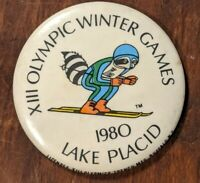 Vintage Olympic Winter Games XIII large Button 1980 Lake Placid USA Skiing