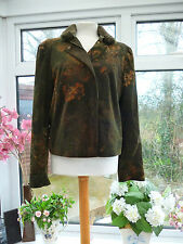 """GORGEOUS """"OLSEN"""" DARK GREEN SOFT CORD JACKET WITH REMOVABLE FAUX FUR COLLAR 16"""
