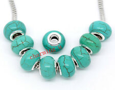 2pz  perline in turchese e ottone 14x10mm colore argento