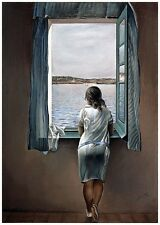 The Woman at the Window by Salvador Dali 100% Pure Cotton Canvas iconic A4 Print
