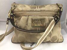 COACH Poppy Metallic GLAM BAG Gold  Signature Tote handbag