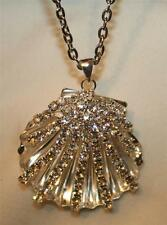 Lovely Sparkling Sculpted Openwork Silver Seashell Rhinestone Pendant Necklace
