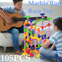 105 PCS Kids Marble Run Race Set Railway Building Blocks Construction Track Gift