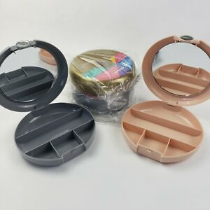 Lot of 4 Cosmic Cosmetic Compact Cases - Gold, Peach, & Gray