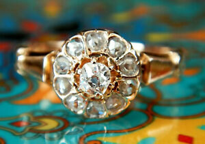 Early Victorian 18ct Rose Gold Old Cut Diamond Daisy Ring