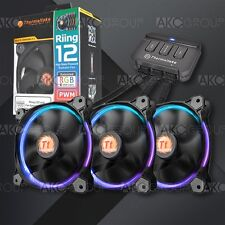 3x Thermaltake Riing Radiator Cooling Fan 12 RGB LED For Gaming Computer Case