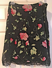 MARY JANE Black/red Floral poppies 100% silk Skirt with lace 8 M Pre-Owned